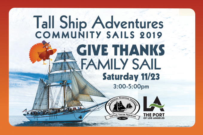 Give Thanks Sail Sat. Nov 23 3-5pm